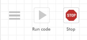 Blockly menu, run code, and stop