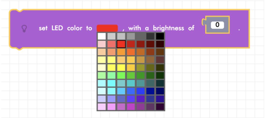 Blockly Junior solid LED color block with color menu
