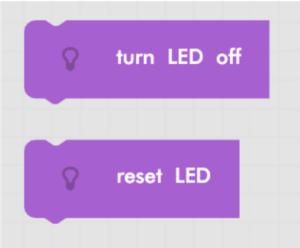Blockly Junior turn LED off and reset LED blocks