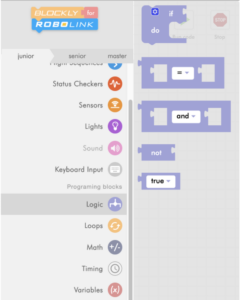 Blockly Junior logic menu