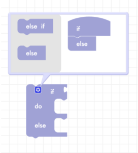 Blockly conditional block with if else statement in gear icon
