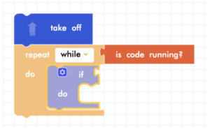 Blockly Junior takeoff, forever loop, and conditional block
