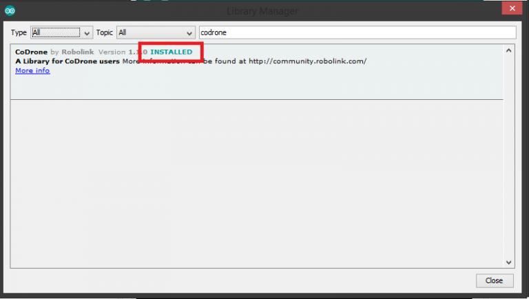 Arduino CoDrone library installation confirmed