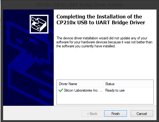 CP210x USB to ART installation complete